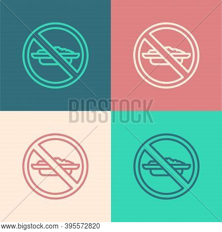 Pop Art Line Food No Diet Icon Isolated On Color Background. Healing Hunger. Vector
