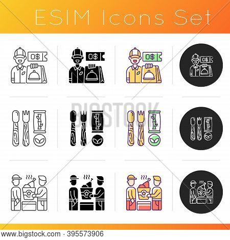 Delivering Groceries, Pre-prep, Pre-made Meals Icons Set. Free Delivery Coupon. Wooden, Bamboo Utens