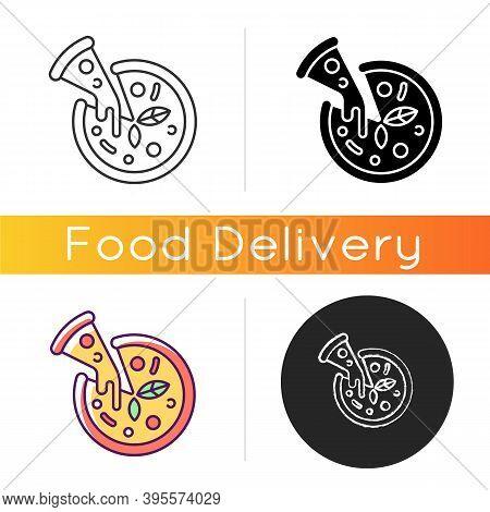 Pizza Icon. Prepared Food. Italian Origin Dish. Junk Foods. Dough, Tomato Sauce And Mozzarella Toppi