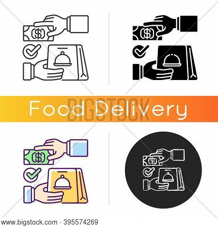 Cash On Delivery Icon. Advance Payment. Meals And Drinks Delivery From Local Restaurants. Courier Se