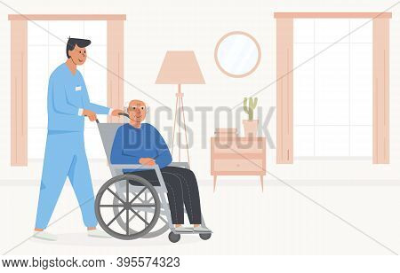 Residential Care Facility. A Caretaker With Old Man On Wheelchair. A Bedroom In Nursing Home, Retire