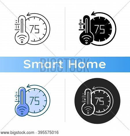 Thermostat Icon Smart Home Monitoring Future Devices. Measuring Temperature Inside Your House. Getti