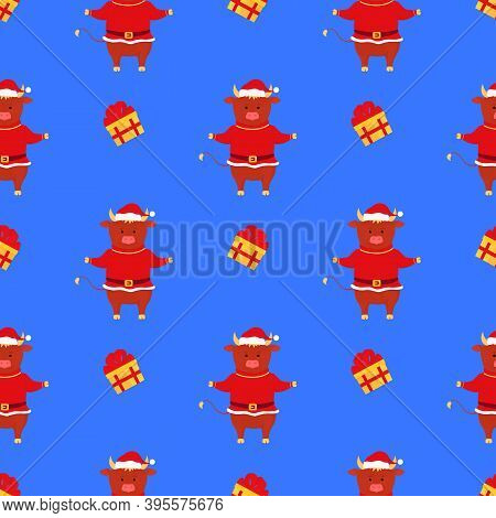 The Bull Wears A Santa Claus Costume. Ox Symbol Of Chinese New Year Seamless Pattern