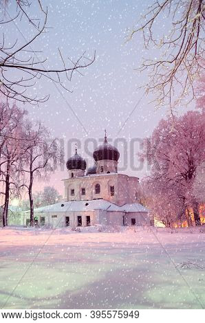 Veliky Novgorod, Russia. St Anthony Monastery, Cathedral Of The Nativity Of The Virgin, Winter Night