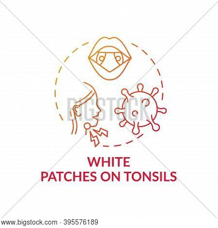 White Patches On Tonsils Concept Icon. Tonsillitis Sign Idea Thin Line Illustration. White Pus-fille