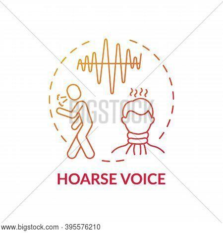 Hoarse Voice Concept Icon. Sore Throat Symptom Idea Thin Line Illustration. Laryngitis. Abnormal Voi