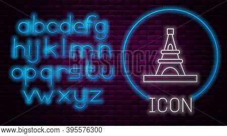 Glowing Neon Line Eiffel Tower Icon Isolated On Brick Wall Background. France Paris Landmark Symbol.