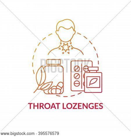 Throat Lozenges Concept Icon. Sore Throat Treatment Idea Thin Line Illustration. Mentholated Cough D