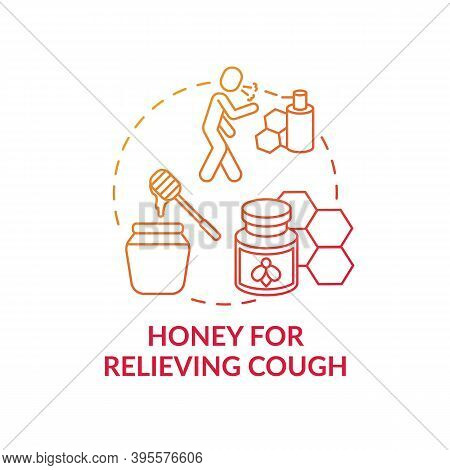 Honey For Relieving Cough Concept Icon. Effective Cough Suppressant Idea Thin Line Illustration. Sup