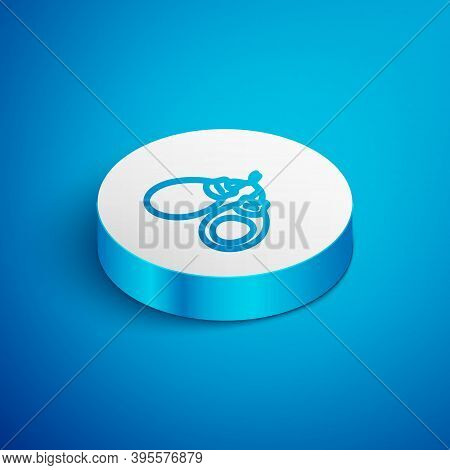 Isometric Line Musical Instrument Castanets Icon Isolated On Blue Background. White Circle Button. V