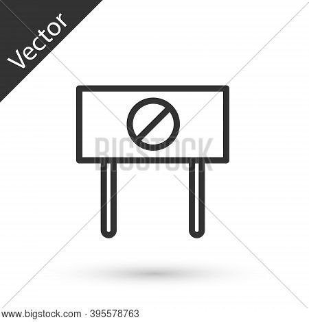 Grey Line Protest Icon Isolated On White Background. Meeting, Protester, Picket, Speech, Banner, Pro