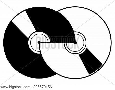 Two Vinyl Records Icon. Two Vinyl Records Black On White Illustration