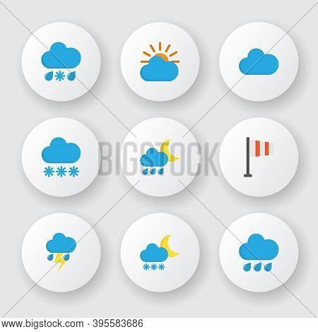 Climate Icons Flat Style Set With Sun, Cloudy, Rainy And Other Drizzles Elements. Isolated Vector Il