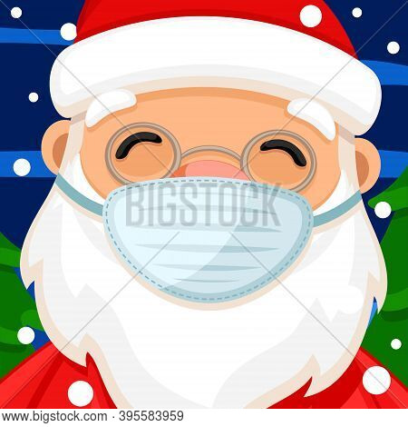 Santa Claus In A Medical Mask Close Up. Merry Christmas