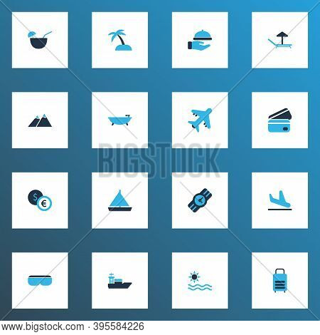 Tourism Icons Colored Set With Bathroom, Ship, Sea And Other Vessel Elements. Isolated Vector Illust