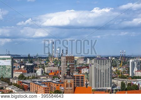 Gdańsk, Poland - 20 August 2019: Aerial View From Belltower Of St. Mary's Basilica For Shipyard Dist