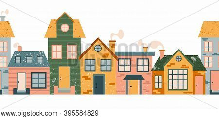 Cartoon Cottage Seamless Pattern. Hand Drawn Home Facade Street, Townhouse And Family House In Count