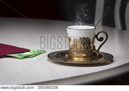 Golden Coffee Cup, Restaurant Bill, Cash Switzerland Frank On Table In Cafe, Luxurious Elegance Styl