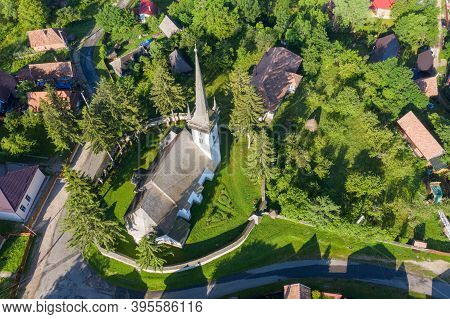 Aerial Drone Point Of View Of A Whitewashed Protestant Church