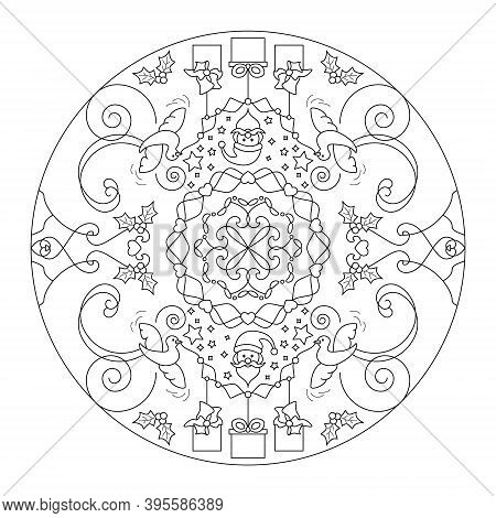 Christmas Coloring Page. Mandala. Santa Claus And Little Doves Carrying Gifts. Black And White. Vect