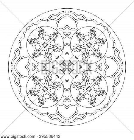 Christmas Mandala. Coloring Page. Pretty Christmas Balls And Hearts. Black And White. Vector Illustr