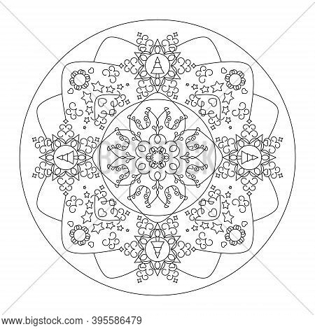 Christmas Mandala. Coloring Page. Pretty Christmas Tree, Star And Heart. Black And White. Vector Ill