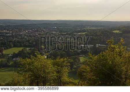 View Over Countryside From Box Hill On The North Downs At Dorking, Surrey, England