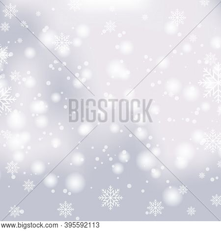 Snowfall On A White Winter Christmas Vector Background. Shining Snow And Snowflakes For Bokeh Festiv