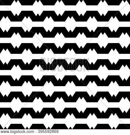 Seamless Vector. Folk Ornament. Jagged Stripes Pattern. Ethnic Motif. Geometric Wallpaper. Digital P