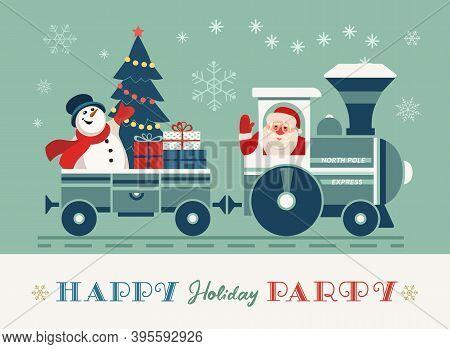 Happy Holiday Santa Train Party Vector Poster. Comic Steam Christmas Polar Express, Presents Cartoon