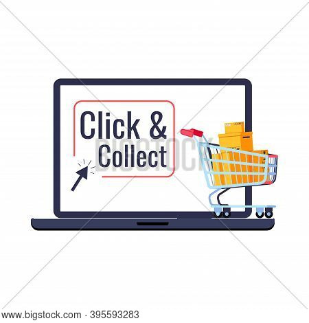 Click And Collect Retail Delivery Icon Isolated On White Background. Supermarket Trolley Cart With P