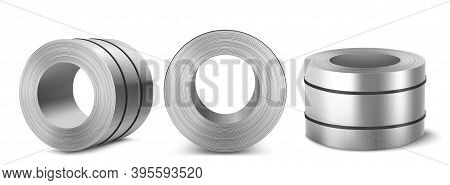 Steel Sheet Roll, Stainless Construction Tape Coil Isolated On White Background. Metallurgy Industry