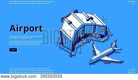 Airport Terminal And Airplane. Isometric Illustration Of Plane, Aerodrome And Terminal Building. Vec