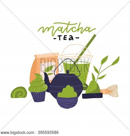 Matcha Tea Ceremony Elements - Side View. Japanese Green Tea Ceremony, Matcha Latte Or Tea Beverages