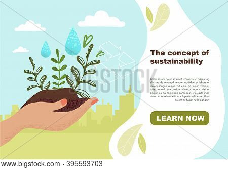 Concept Of Ecological Sustainability, Environmental Protection, Eco Recycling. Slide, Website, Web P