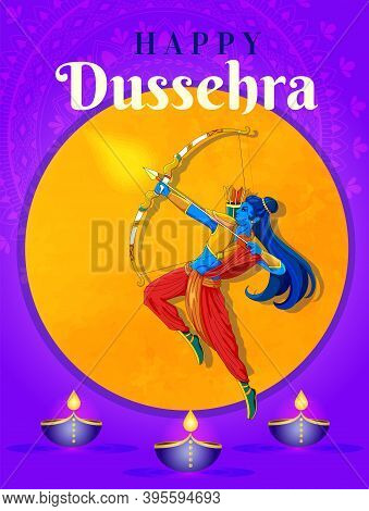 Happy Dussehra Indian Holiday Template, Postcard, Banner. Vijayadashami Or Dussehra Is Hindu Festiva