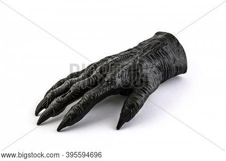 Severed monster hand on white background
