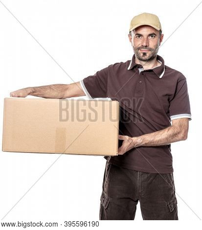 worker man courier shipping with hat and parcel in hand. isolated on white.