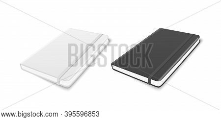 Vector 3d Realistic White And Black Closed Blank Paper Notebook With Elastic Band Set Isolated On Wh