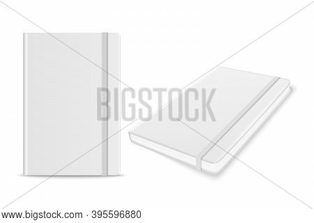 Vector 3d Realistic White Closed Blank Paper Notebook With Bookmark Set Isolated On White Background
