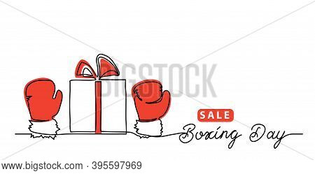 Boxing Day Sale Concept, Banner, Background With Giftbox And Red Gloves, Mitten. One Line Drawing Ar