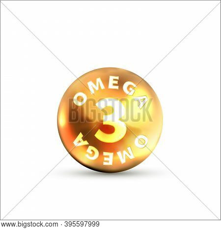 Bright Glossy Icon Of Omega 3 On White