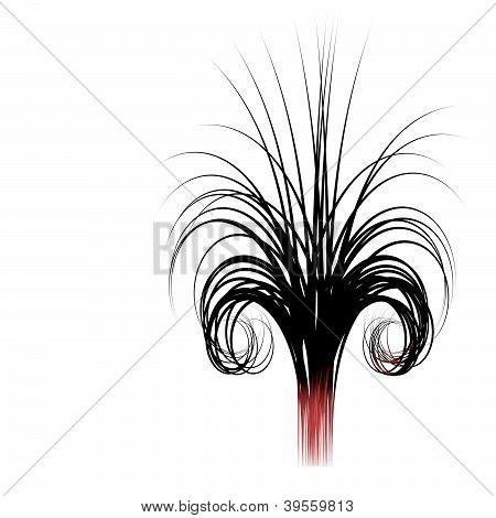 3D abstrato cabelo enrolado como o fio da linha forma em branco