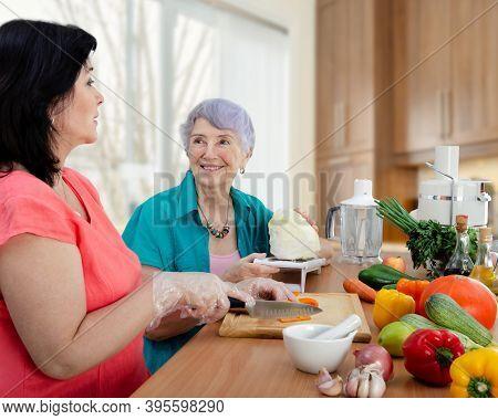 Caring Daughter Or Caretaker And Senior Adult Woman Prepare A New Vegetarian Dish Together. The Elde