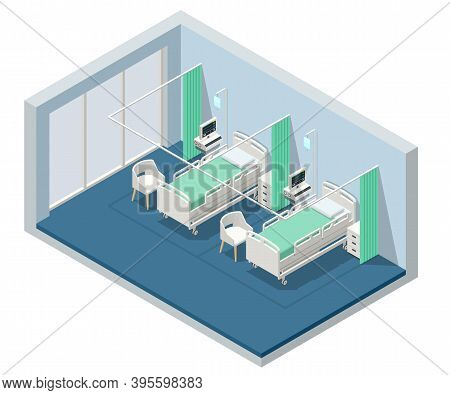 Isometric Hospital Bed. Empty Bed On Hospital Ward. Empty Bedroom In A Hospital Llooking Sterile