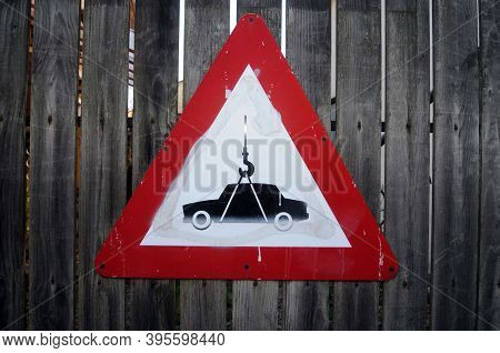 Attention Towing Zone Traffic Sign, No Parking And No Stopping