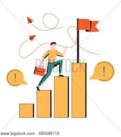 Happy Businessman Ascending Stairs And Celebrating Financial Success. Concept Of Business Achievemen
