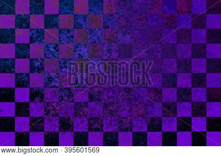 Purple Blue Lavender Violet Checkered Background With Blur, Gradient And Grunge Texture. Classic Che