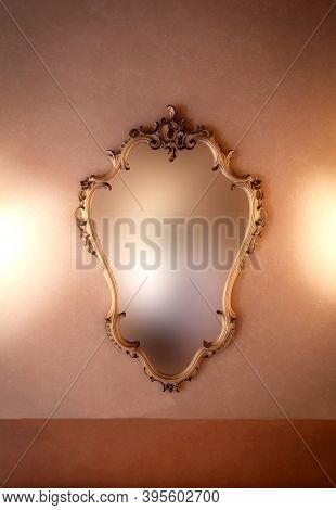 Old Fashioned Luxury Gold Colored Frame Mirror Antique Design, Hanging On Vintage Wall Background Te