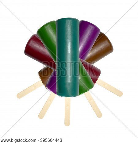 Popsicle Cream In Fruit Glaze On A Stick.fruit Popsicle On A Stick In The Assortment.